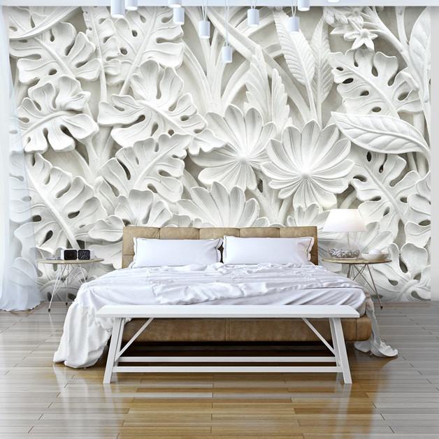 biała-przestrzenna-tapeta-liście