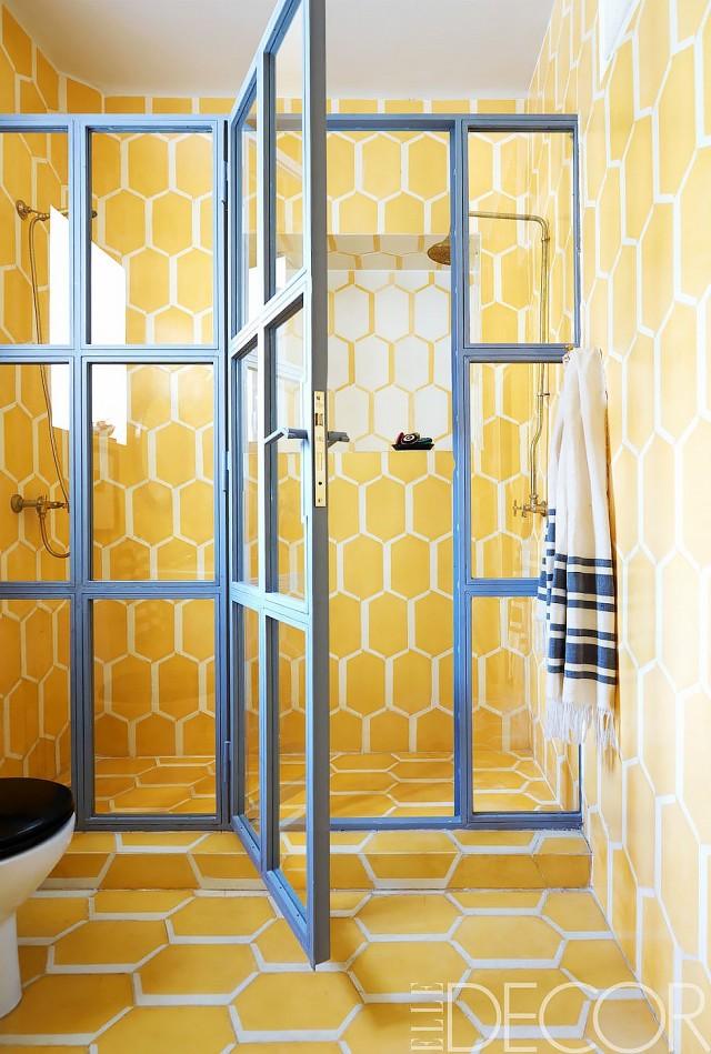 żółte ściany we wnętrzu