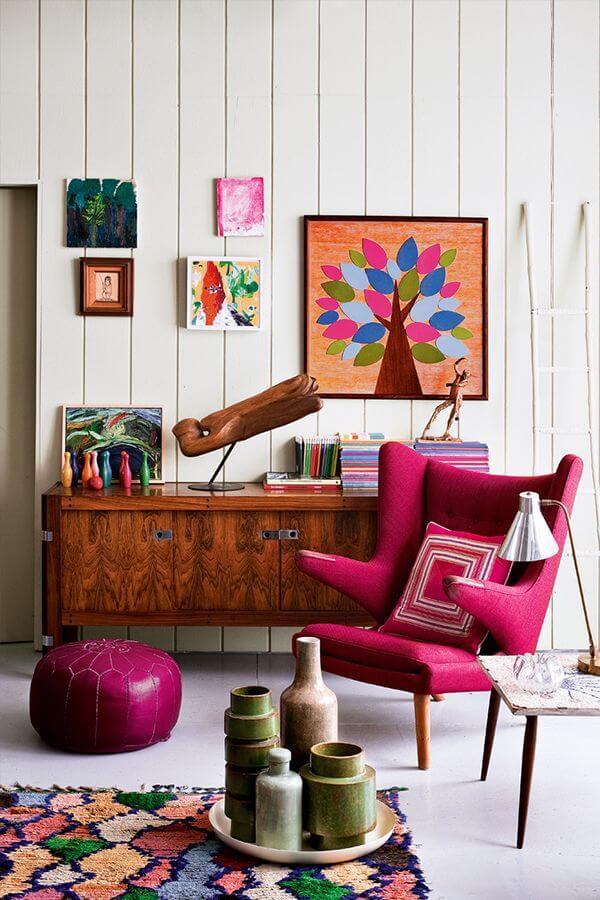 różowa pufa różowy fotel