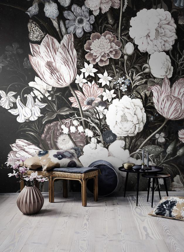 fototapeta-tapeta-kwiaty-vintage-dom-wnętrze