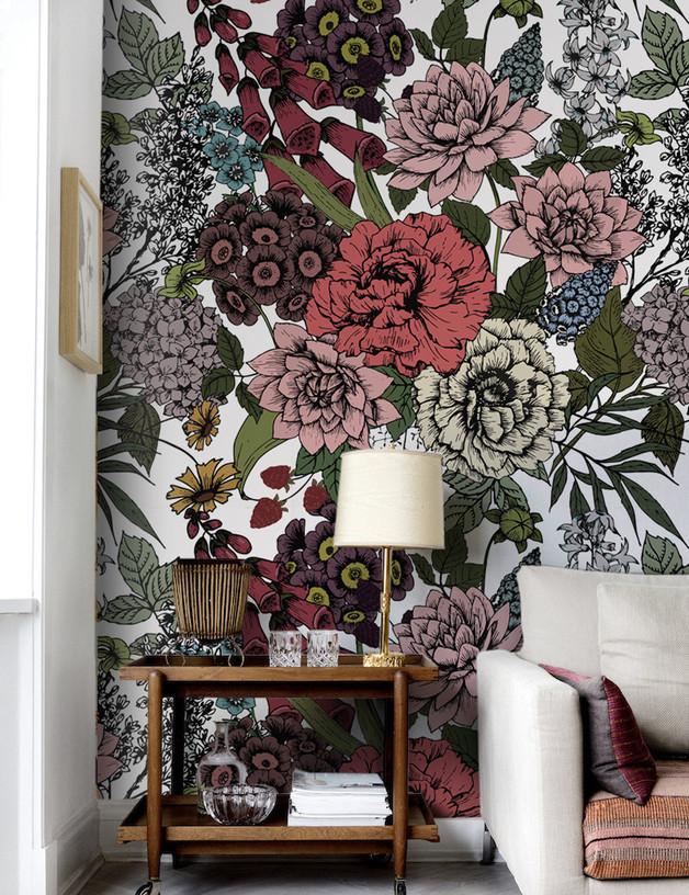jesienne-kwiaty-tapeta-wnętrze-dom-inspiracja