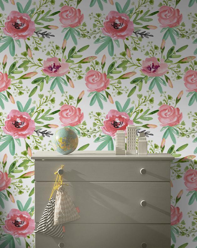 tapeta-kwiaty-dom-wnętrze-inspiracja