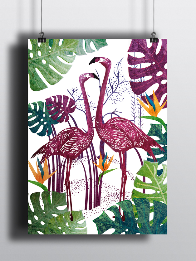 plakat-flamingi