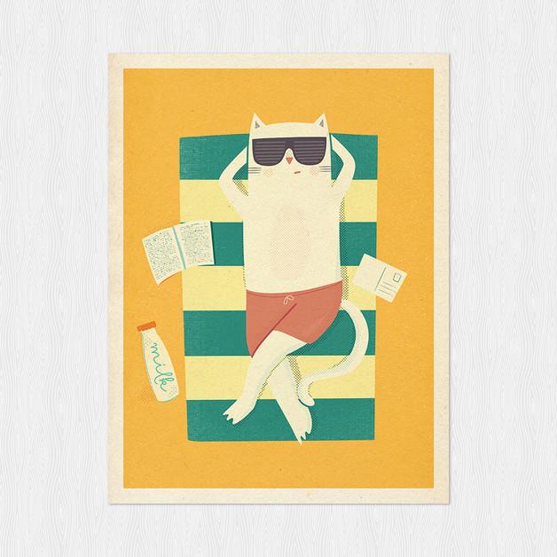 kot-na-plaży-plakat