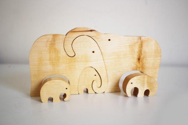 ekologiczne zabawki, drewniane słonie