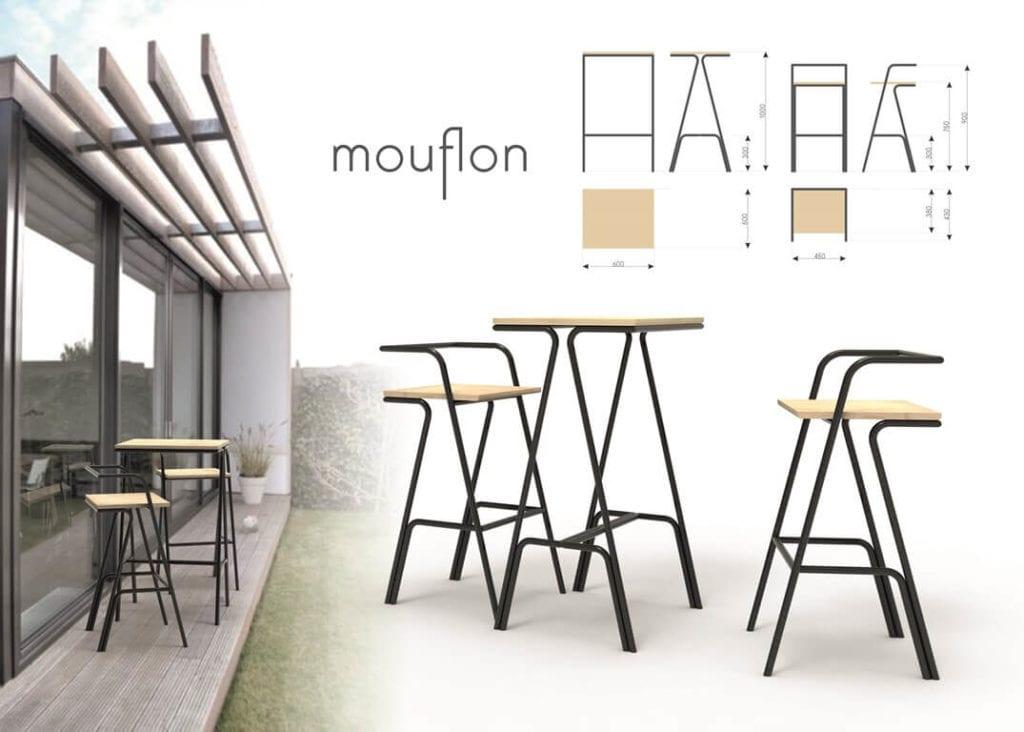krzesła barowe drewno i stal