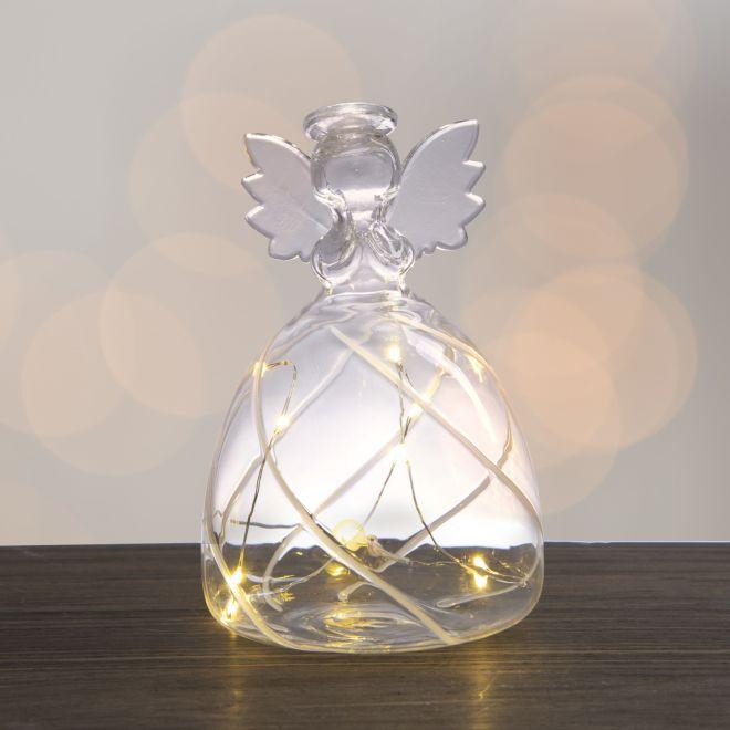 szklany anioł podświetlany ledami