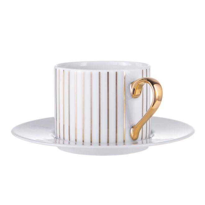 filiżanka na herbatę złoto i biel