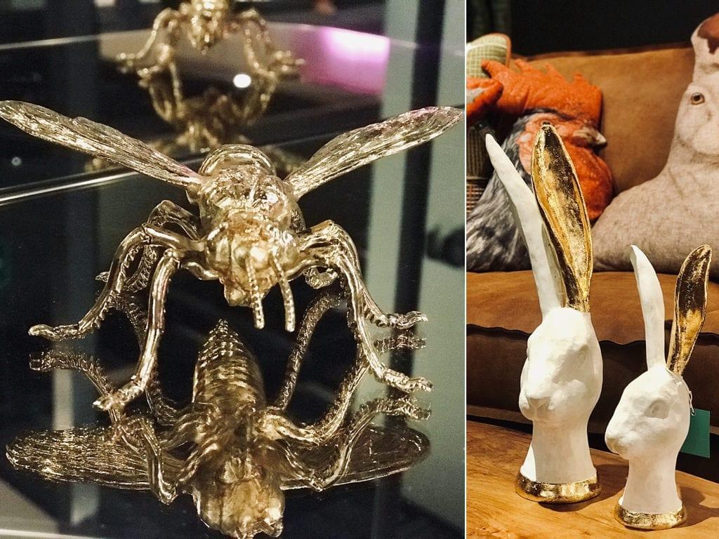 złoty owad figurka królika ze złotym uchem