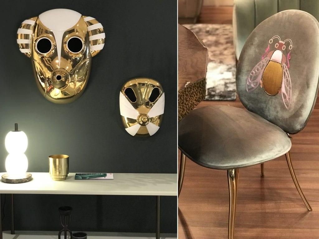 maski złote na ścianie