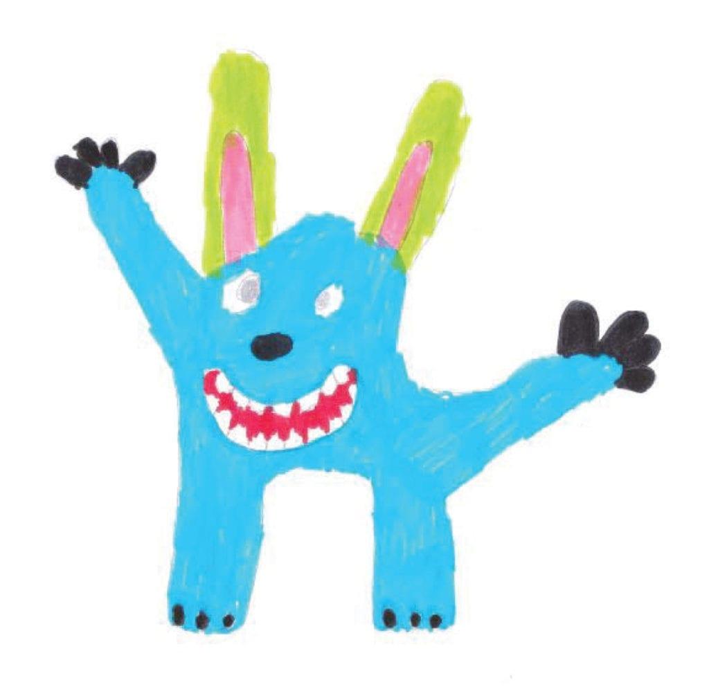 Zabawa to poważna sprawa niebieski potworek
