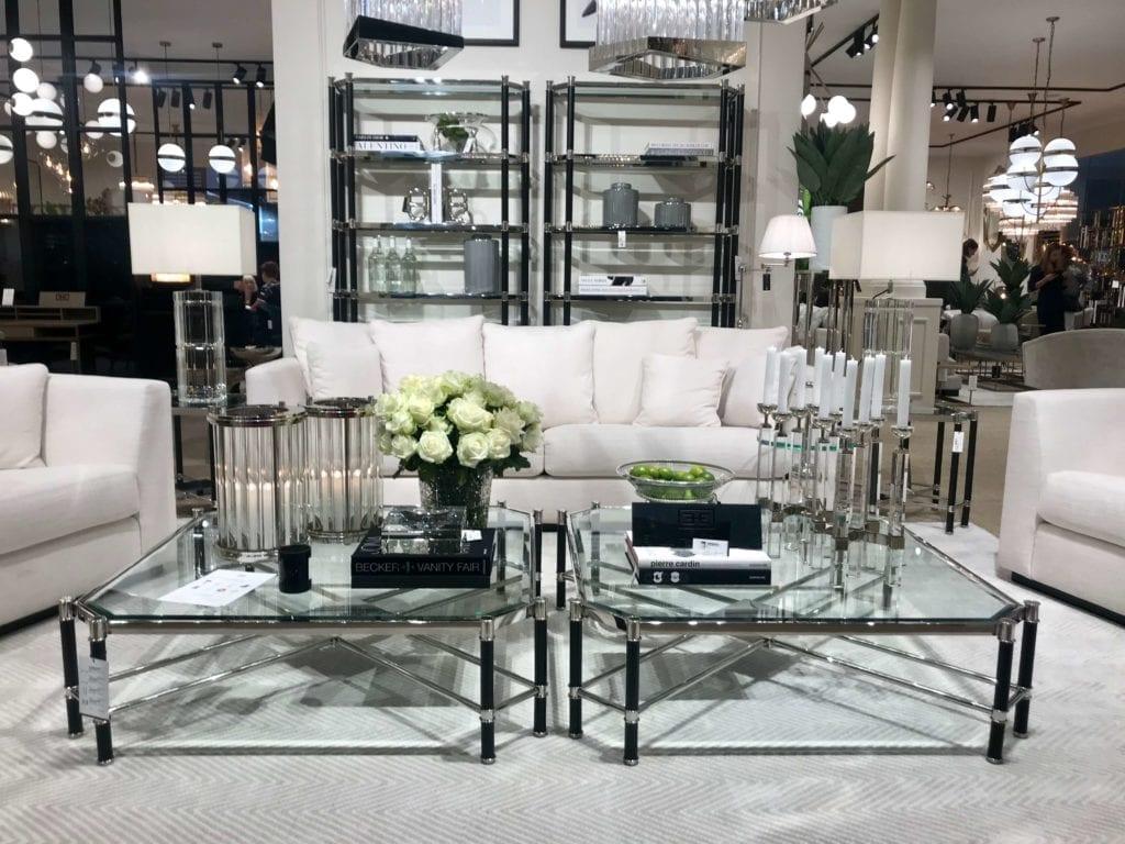 stolik kawowy ze szkła w stylu glamour