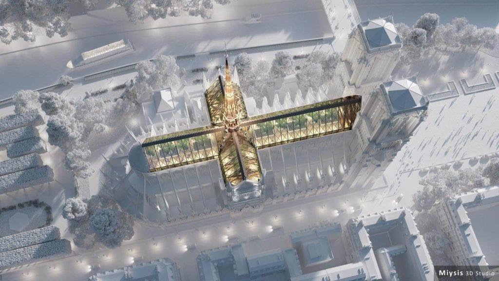szklany dach nad katedrą Notre Dame