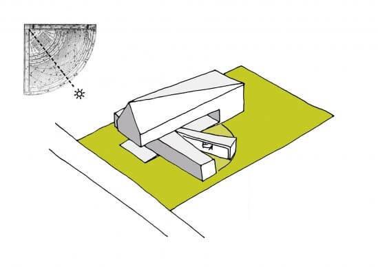Robert Konieczny projekt kwadrantowego domu z ruchomym tarasem