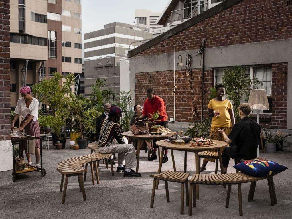 ÖVERALLT okrągły stół z bambusa