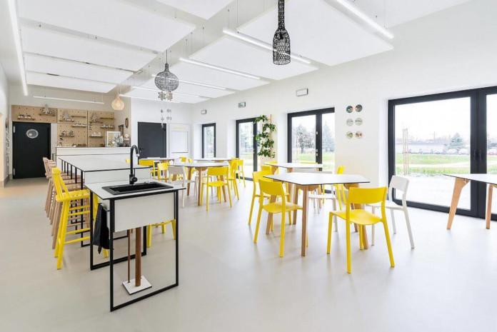 Wychowanie estetyczne szkoła podstawowa w Miliczu kantyna wnętrze białe