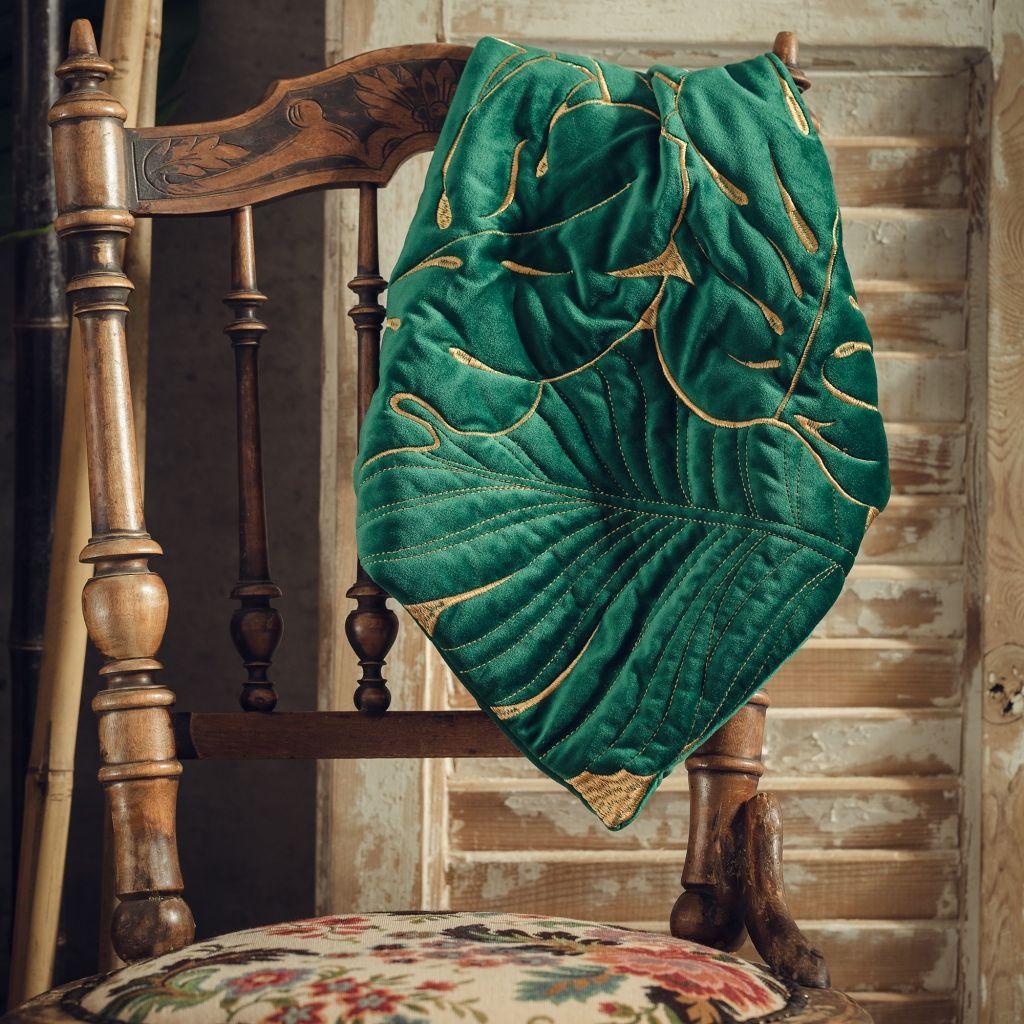 poduszka w zielone monstery