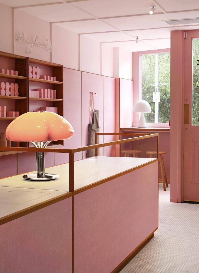 Lampa Mid-century modern różowy wystrój