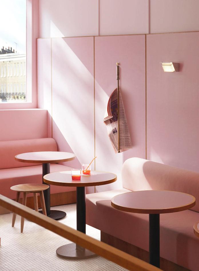 Różowe wnętrze ściany Formica reastauracja Londyn Humble Pizza