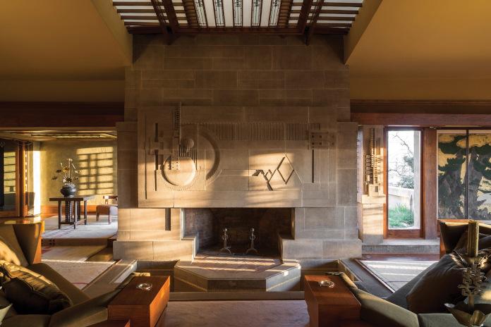 Hollyhock House Los Angeles California Stany Zjednoczone przytulny salon kanapa kominek kamień we wnętrzach