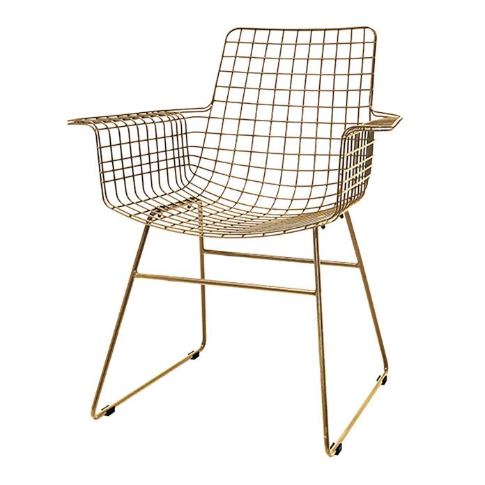 Złote krzesło metalowe dodatki do pokoju