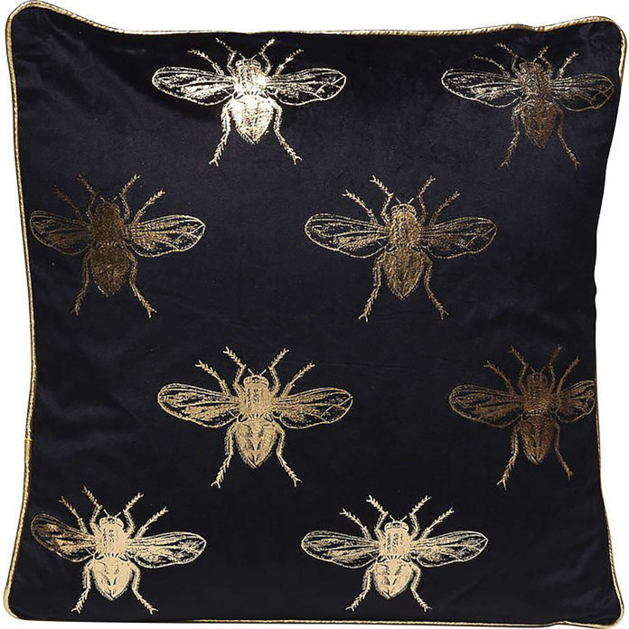 Poduszka czarna dekoracyjna w złote pszcoły złote dodatki do pokoju