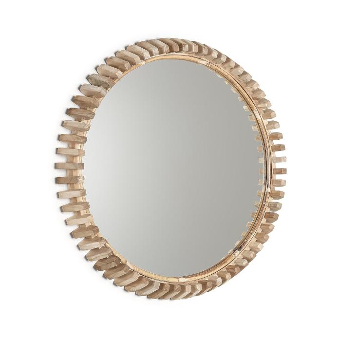 Lustro okrągłe drewniana ramka 52 cm inspiracje 9design