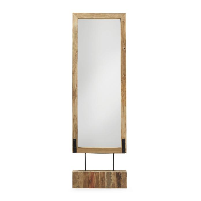 Wysokie stojące lustro drewniana ramka na nóżce