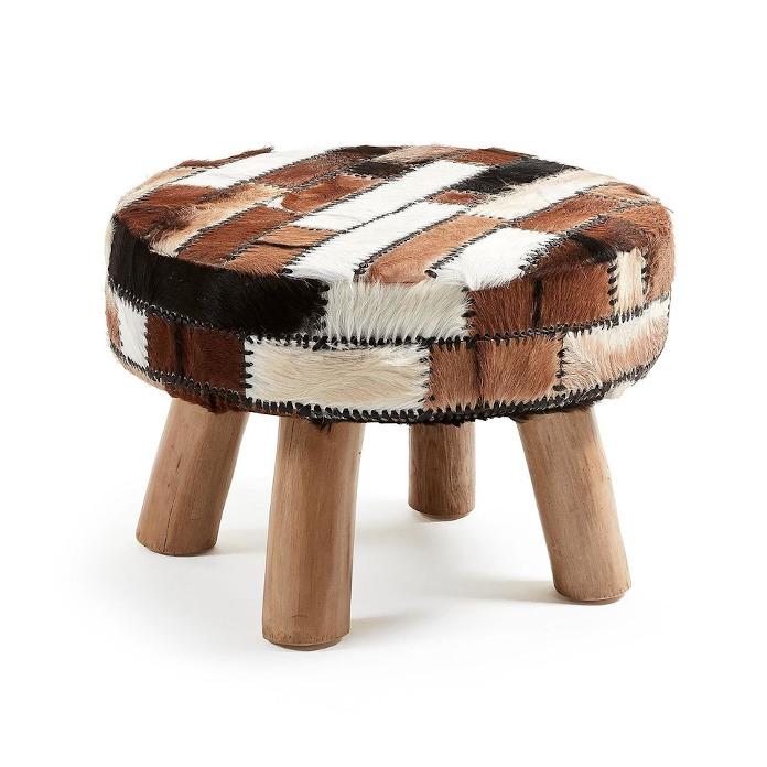 Podnóżek 9design etno skóra drewno metamorfozy wnętrz