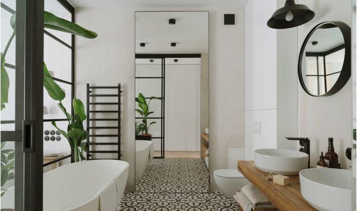 Przeszklona łazięka bananowce inspiracje minimalizm wysokie stojące lustro