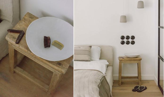Sypialnia naturalne wnętrza drewno len retro wyłączniki