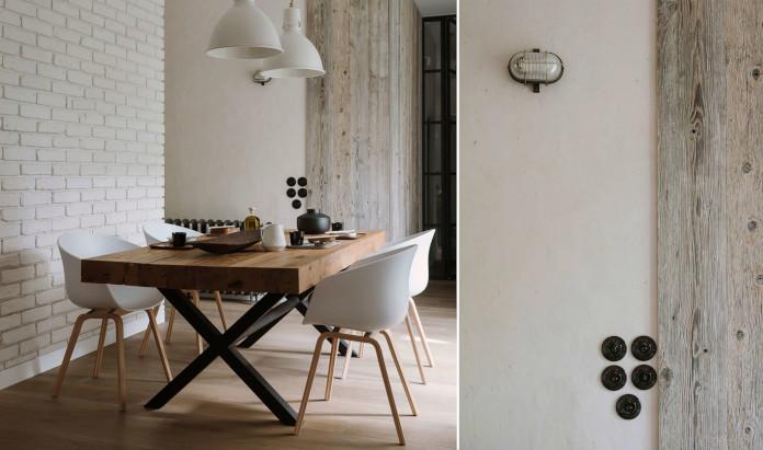 Biała cegła drewnainy stół stalowe nóżki inspiracje jadalnia naturalne wnętrza
