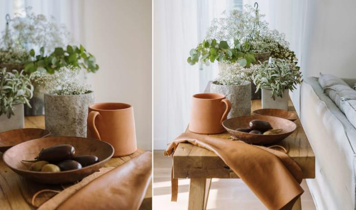 Ceramika drewniany stolik skóra rośliny