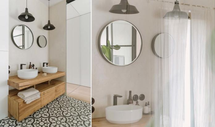 Wzorzysta ceramika okrągłe lustro drewniany blat