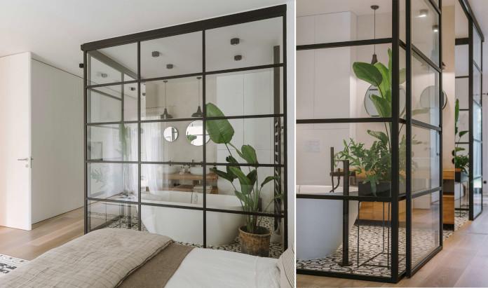 Rośliny w pomieszczeniu przeszklona łazięka sypialnia