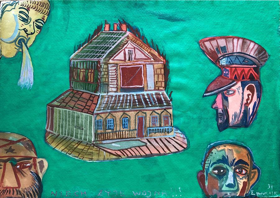Galeria ARTEMIS. Dwurnik niech żyje wojna sztuka obraz tkanina