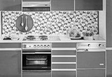 kuchnia retro vintage szara biała