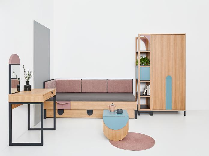PAGOK-Meble Dorota Terlecka kolekcja MOD system przechowywania inspiracje pokój dziecięcy mała przestrzeń regał komoda dywan wieszak lustro