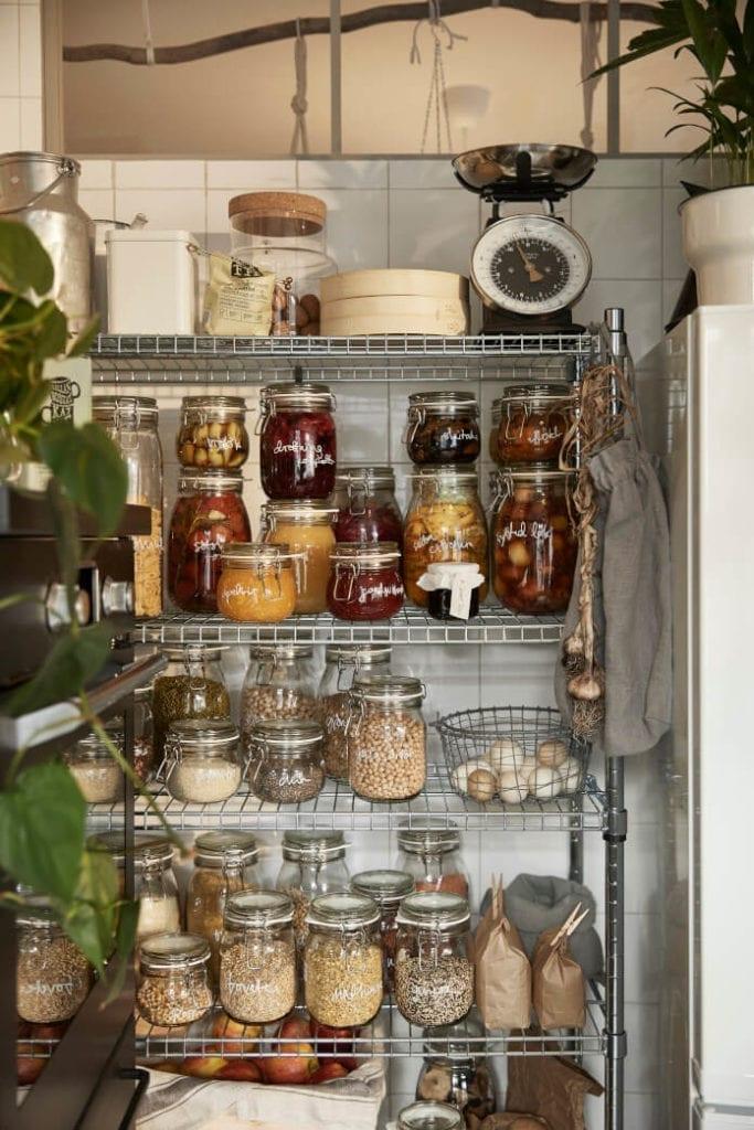 Słoiki szklane do kuchni regał druciany planowanie kuchni ikea
