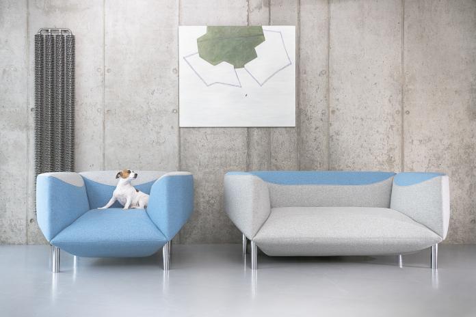 Nord Mebel Agata Kulik-Pomorska kolekcja ROSETTE kanapa sofa niebieska szara inspiracje fotel design polski