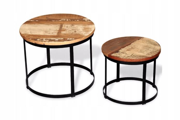Stoliki kawowe z drewna zestaw ekologiczne mieszkanie