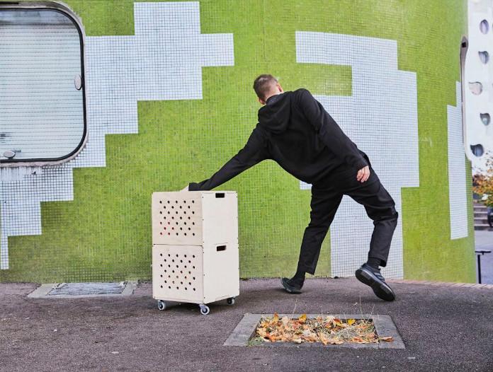 Pudełko na kółkach drewniane IKEA