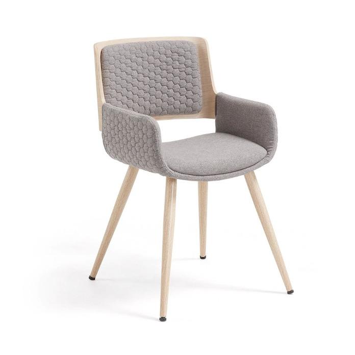 Krzesło jasnoszare taupe drewno buk