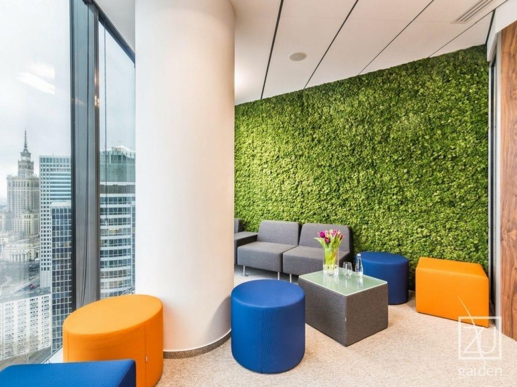 Zielona ściana z roślinami okk pufa niebieska pomarańczowa szary fotel