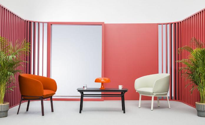 Koralowy kolor pokarańczz biel krzesło czerń roślinny drenwno lampa