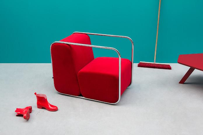 Bauhaus czerwony fotel noti stone