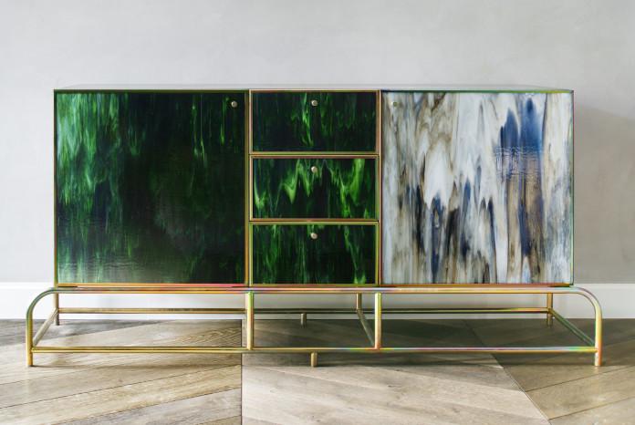 komoda beza projekt inspiracje złoto drewno zieleń najlepsi polscy projektanci