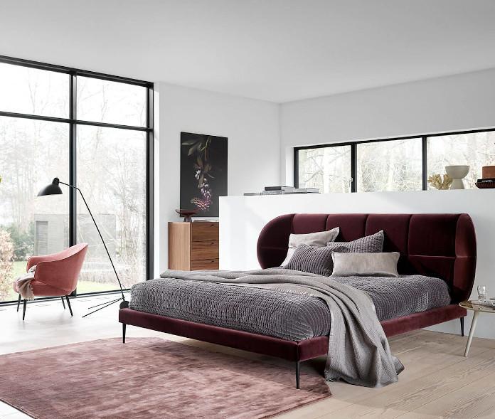 sypialnia zagłowie weurowe lampa dywan stolik