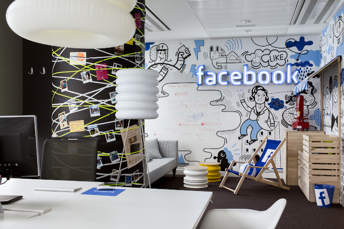 Biuro facebook warszawa neon madama studio przestrzeń publiczna
