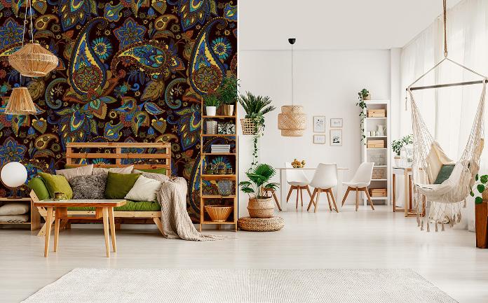 Etno wzór fototapeta jesienne trendy stół hamak regał lampa krzesla inspiracje salon